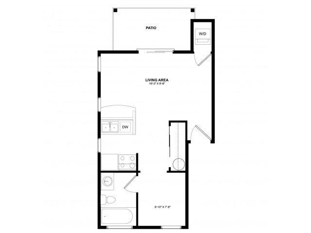 Studio 1 Bathroom Apartment for rent at Asbury Park in Kirkland, WA