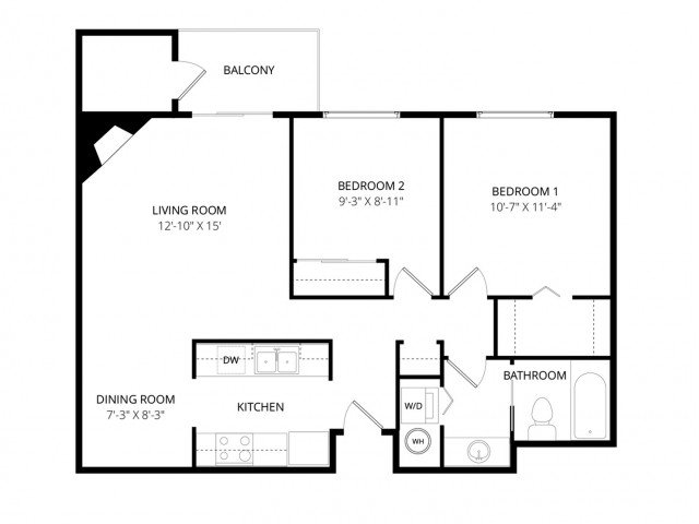 2 Bedrooms 1 Bathroom Apartment for rent at Bayview Apartment Homes in Federal Way, WA