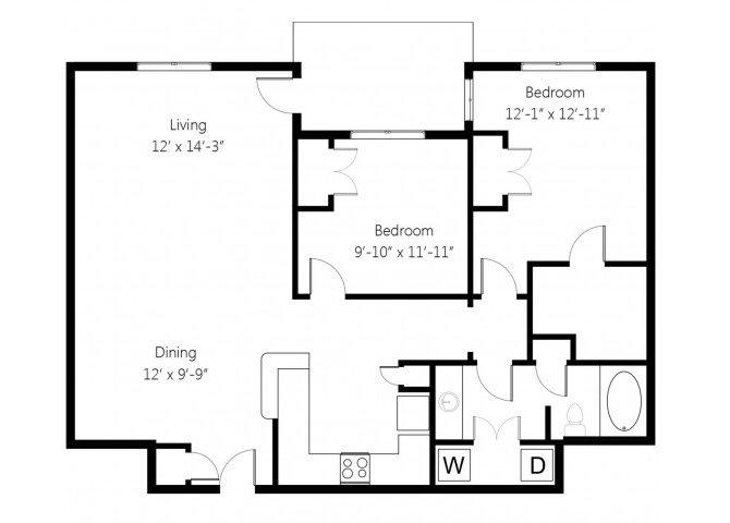 2 Bedrooms 1 Bathroom Apartment for rent at Memorial Creek in Tulsa, OK