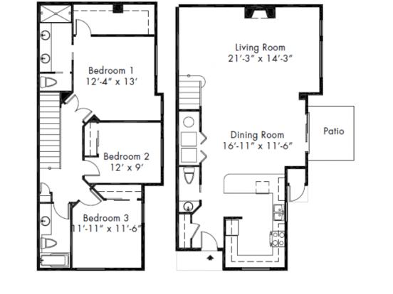 3 Bedrooms 2 Bathrooms Apartment for rent at Aspen Creek Apartment Homes in Kirkland, WA