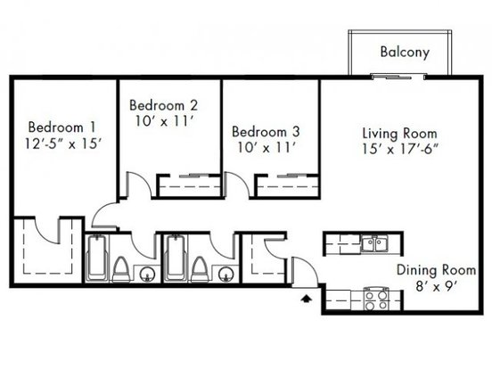 3 Bedrooms 2 Bathrooms Apartment for rent at Lakeside Apartments in Mountlake Terrace, WA