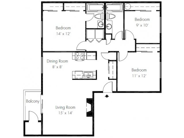 3 Bedrooms 2 Bathrooms Apartment for rent at The Ridge & Shores Apartments in Federal Way, WA