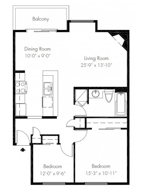 2 Bedrooms 1 Bathroom Apartment for rent at Soundview Apartment Homes in Federal Way, WA