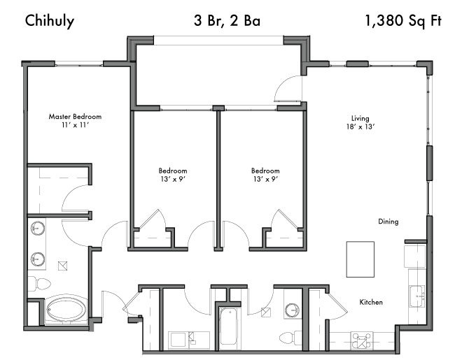 3 Bedrooms 2 Bathrooms Apartment for rent at Discovery West in Issaquah, WA