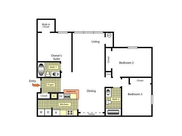 3 Bedrooms 2 Bathrooms Apartment for rent at Brandon Crossing in Brandon, FL