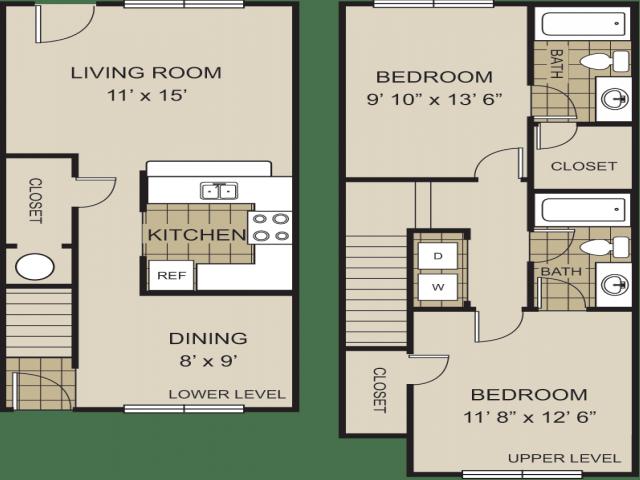 2 Bedrooms 2 Bathrooms Apartment for rent at Redwine Creek in Atlanta, GA