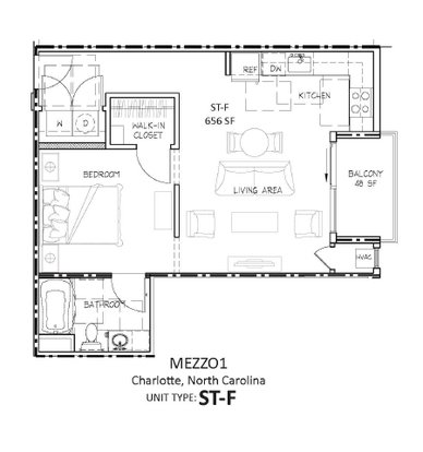 1 Bedroom 1 Bathroom Apartment for rent at Mezzo1 in Charlotte, NC