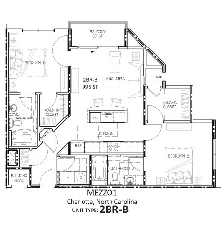2 Bedrooms 2 Bathrooms Apartment for rent at Mezzo1 in Charlotte, NC