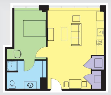 1 Bedroom 1 Bathroom Apartment for rent at The U At Springfield in Springfield, MO