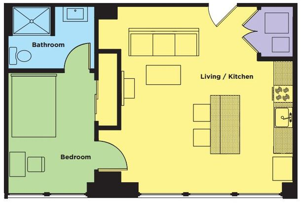 1 Bedroom 1 Bathroom Apartment for rent at Sky Eleven in Springfield, MO