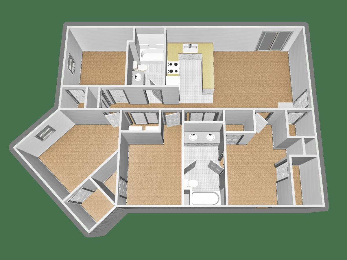 4 Bedrooms 2 Bathrooms Apartment for rent at Campus Village At Cardinal Center in Saginaw, MI
