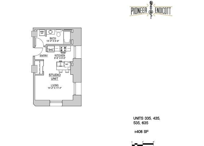 Studio 1 Bathroom Apartment for rent at Pioneer Endicott in St Paul, MN