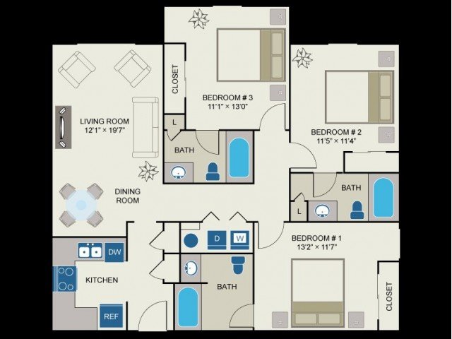 3 Bedrooms 3 Bathrooms Apartment for rent at Centennial Village in Raleigh, NC