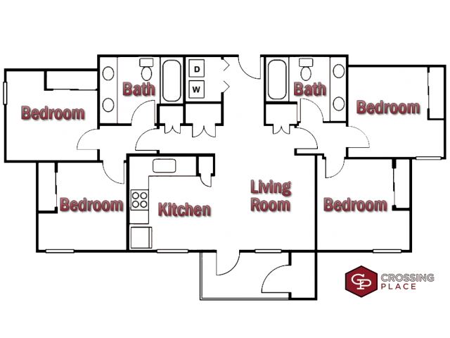 4 Bedrooms 2 Bathrooms Apartment for rent at Crossing Place in College Station, TX