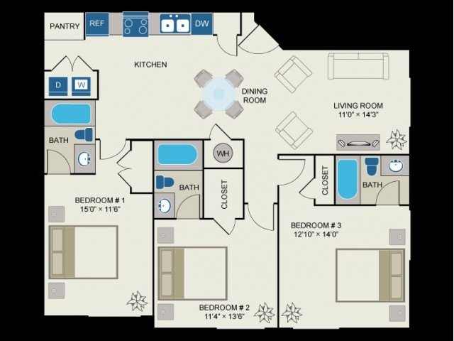 3 Bedrooms 3 Bathrooms Apartment for rent at Centennial Ridge in Raleigh, NC