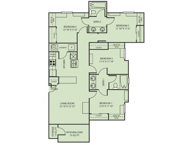 4 Bedrooms 2 Bathrooms Apartment for rent at The Zone in College Station, TX