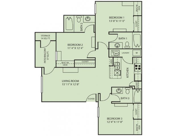 3 Bedrooms 3 Bathrooms Apartment for rent at The Zone in College Station, TX