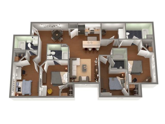 4 Bedrooms 4+ Bathrooms Apartment for rent at University Edge in South Bend, IN