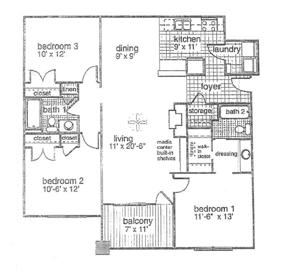 3 Bedrooms 2 Bathrooms Apartment for rent at Kings Pointe in Fayetteville, NC