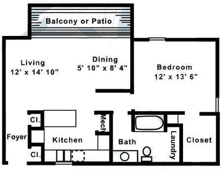 1 Bedroom 1 Bathroom Apartment for rent at Village of Pickwick in Raleigh, NC