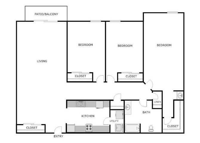 3 Bedrooms 1 Bathroom Apartment for rent at Cascade Falls Apartments in Stoughton, WI