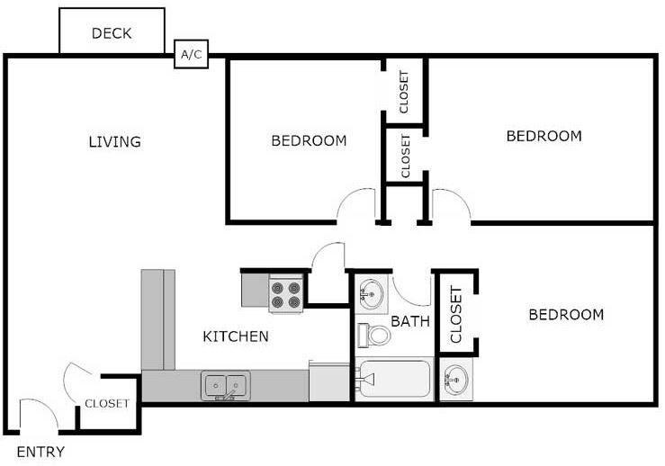 3 Bedrooms 1 Bathroom Apartment for rent at WEDGEWOOD COMMONS in La Crosse, WI