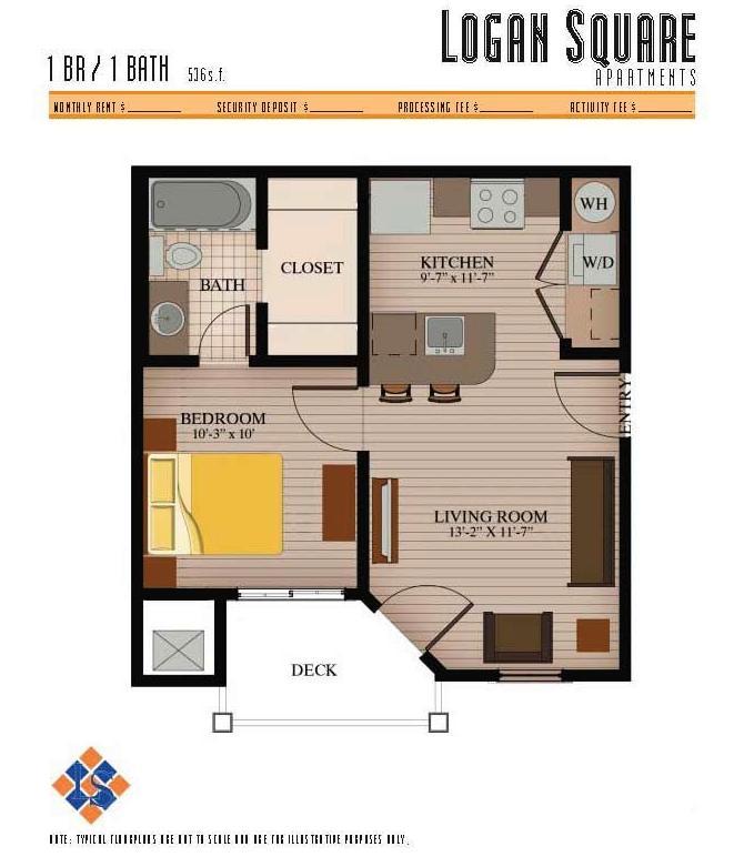 1 Bedroom 1 Bathroom Apartment for rent at Logan Square Apartments in Auburn, AL