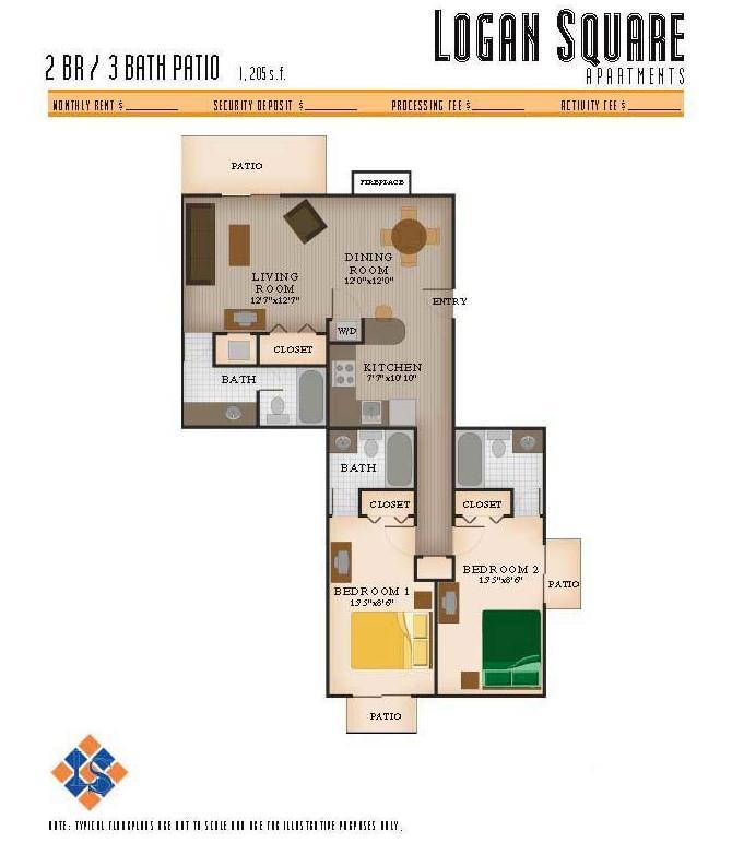 2 Bedrooms 3 Bathrooms Apartment for rent at Logan Square Apartments in Auburn, AL