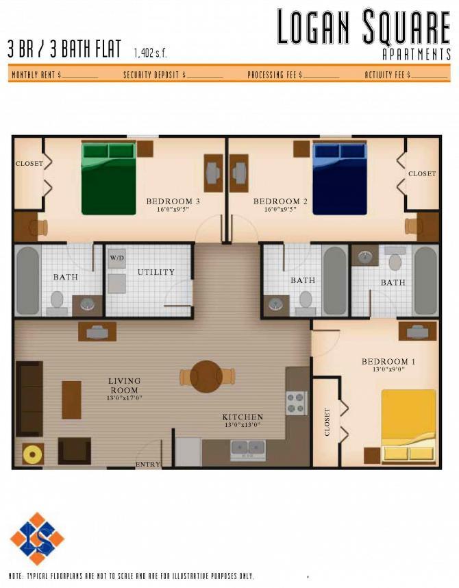 3 Bedrooms 3 Bathrooms Apartment for rent at Logan Square Apartments in Auburn, AL