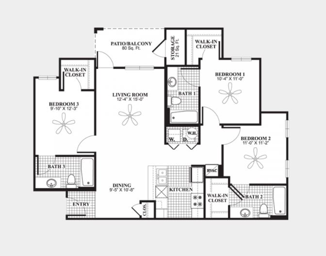 3 Bedrooms 3 Bathrooms Apartment for rent at The Connection At Auburn in Auburn, AL