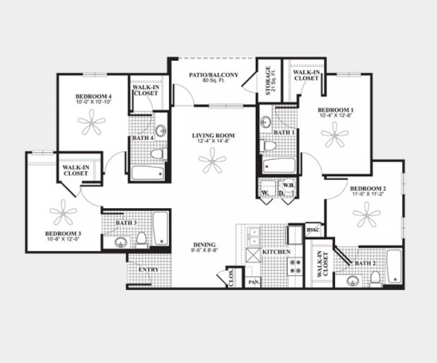 4 Bedrooms 3 Bathrooms Apartment for rent at The Connection At Auburn in Auburn, AL