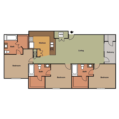 3 Bedrooms 3 Bathrooms Apartment for rent at View in Lincoln, NE
