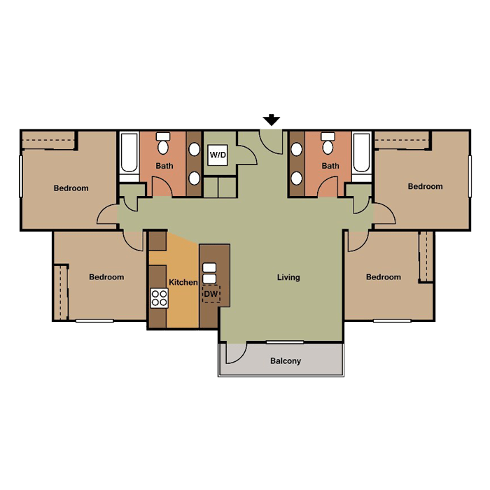 4 Bedrooms 2 Bathrooms Apartment for rent at View in Lincoln, NE