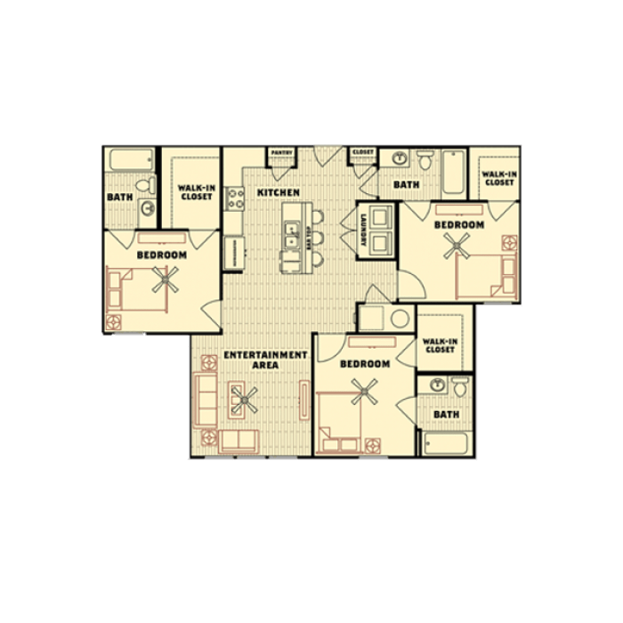3 Bedrooms 3 Bathrooms Apartment for rent at Catalyst in Tallahassee, FL
