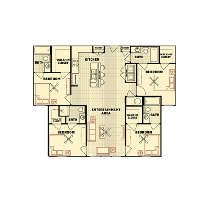4 Bedrooms 4+ Bathrooms Apartment for rent at Catalyst in Tallahassee, FL