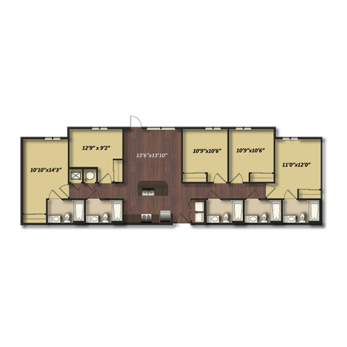 5 Bedrooms 3 Bathrooms Apartment for rent at Campus Village At College Station in College Station, TX