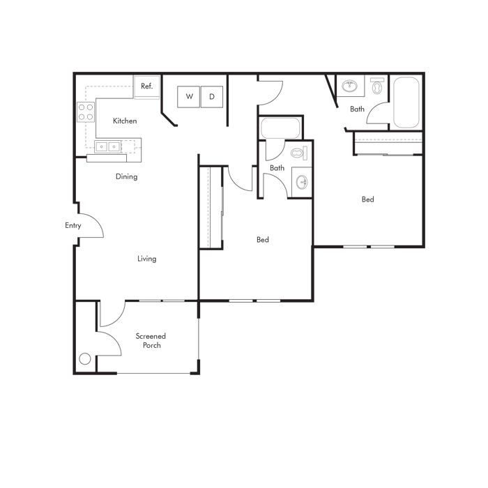 2 Bedrooms 2 Bathrooms Apartment for rent at Cabana Beach in Gainesville, FL