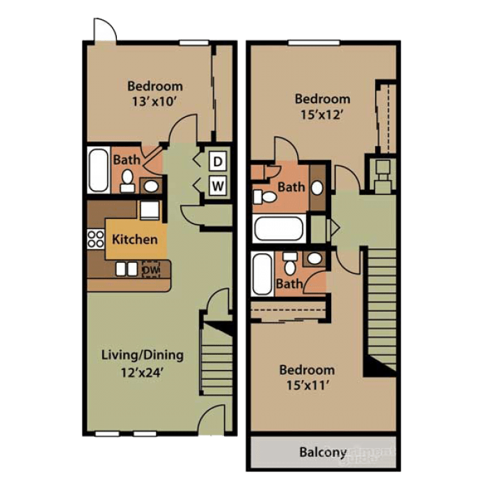 3 Bedrooms 3 Bathrooms Apartment for rent at Villa San Michele in Tallahassee, FL
