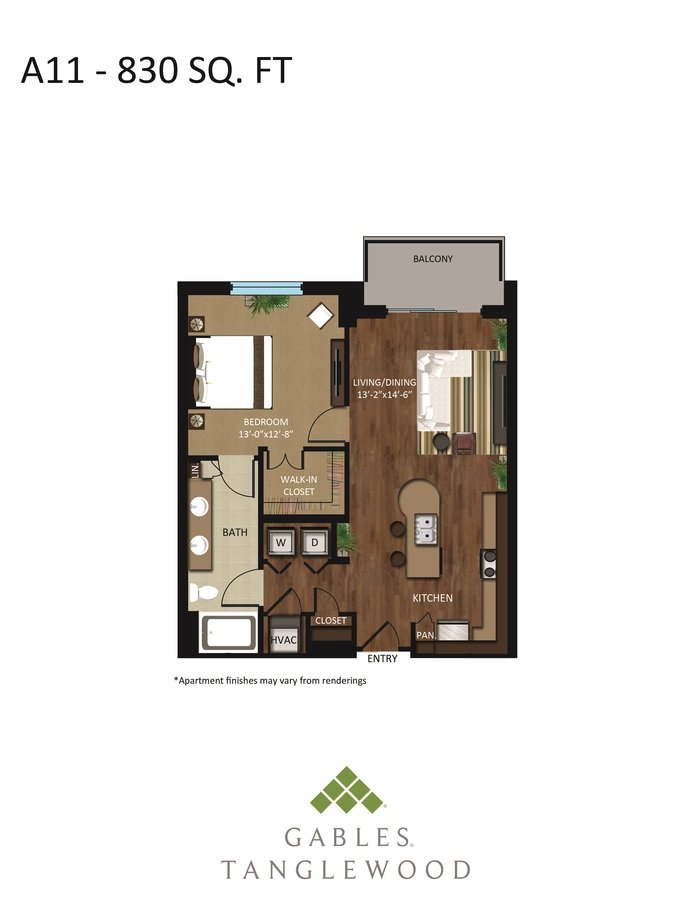 1 Bedroom 1 Bathroom Apartment for rent at Gables Tanglewood in Houston, TX