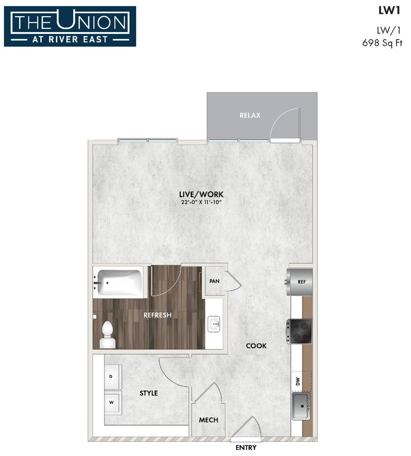 Studio 1 Bathroom Apartment for rent at The Union At River East in Fort Worth, TX