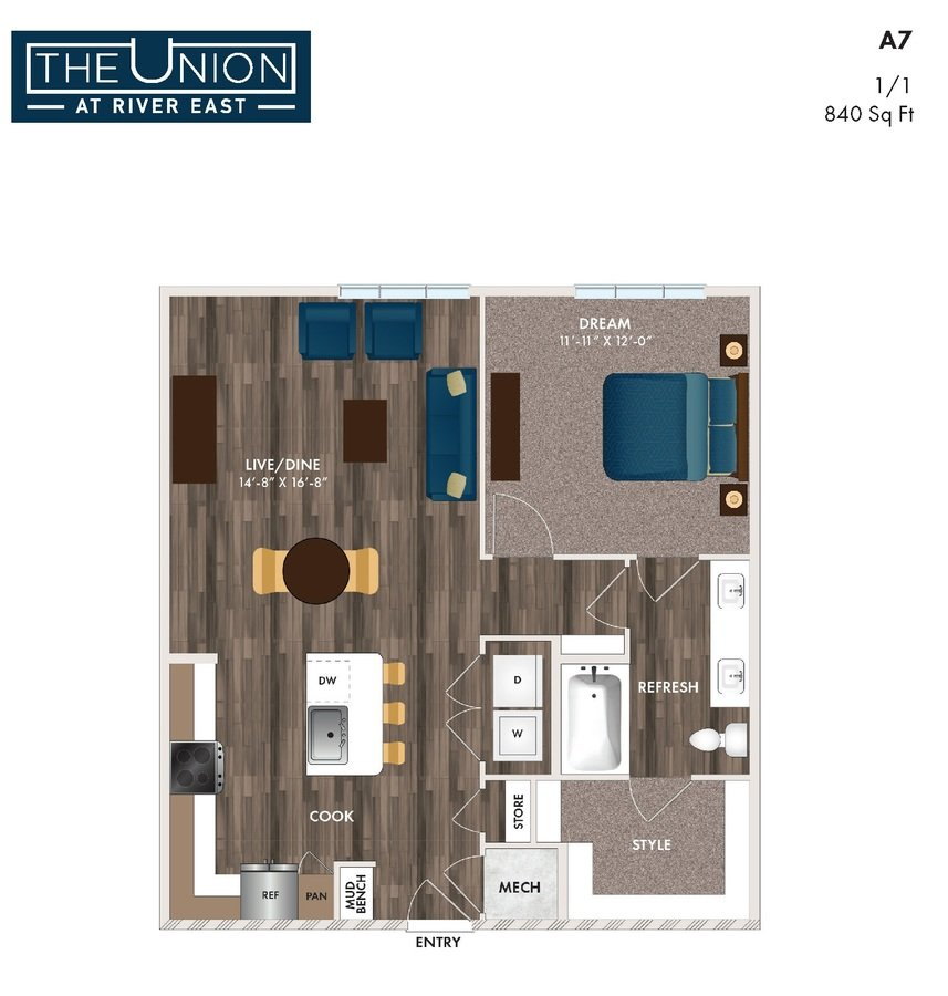 1 Bedroom 1 Bathroom Apartment for rent at The Union At River East in Fort Worth, TX