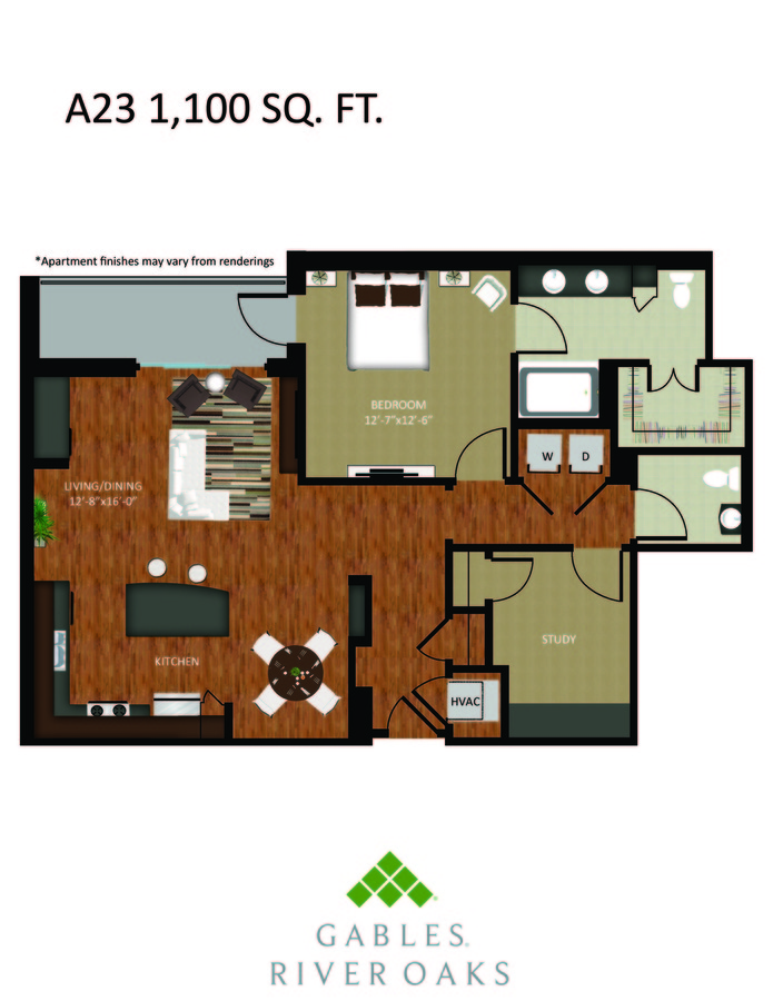 1 Bedroom 1 Bathroom Apartment for rent at Gables River Oaks in Houston, TX