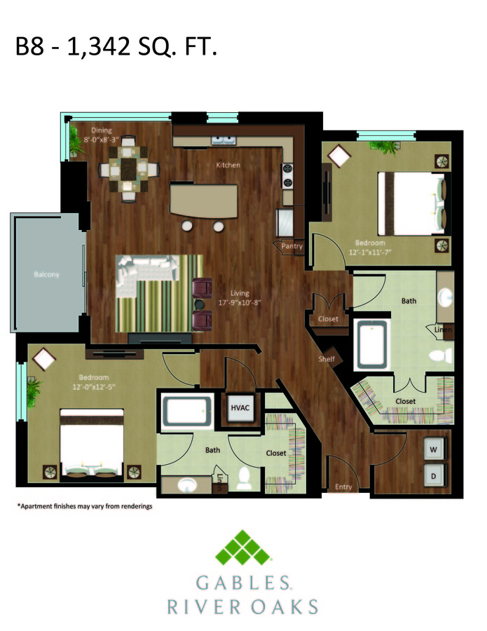 2 Bedrooms 2 Bathrooms Apartment for rent at Gables River Oaks in Houston, TX