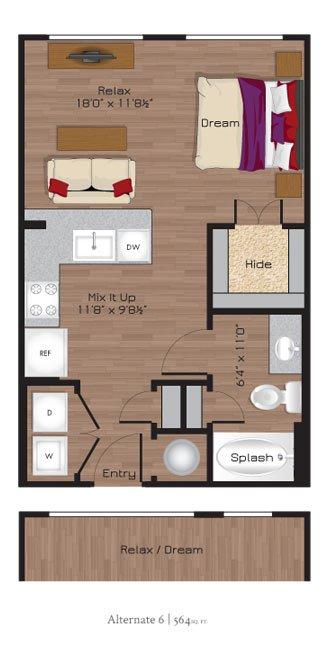 Studio 1 Bathroom Apartment for rent at Park 5940 Md in Dallas, TX