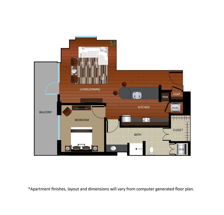 1 Bedroom 1 Bathroom Apartment for rent at Gables Park 17 in Dallas, TX