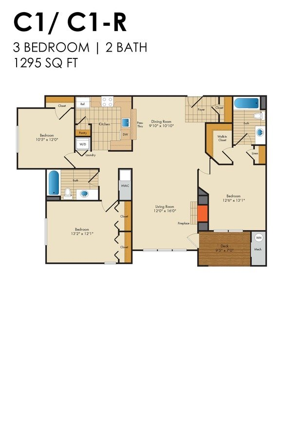 3 Bedrooms 2 Bathrooms Apartment for rent at Red Run in Owings Mills, MD