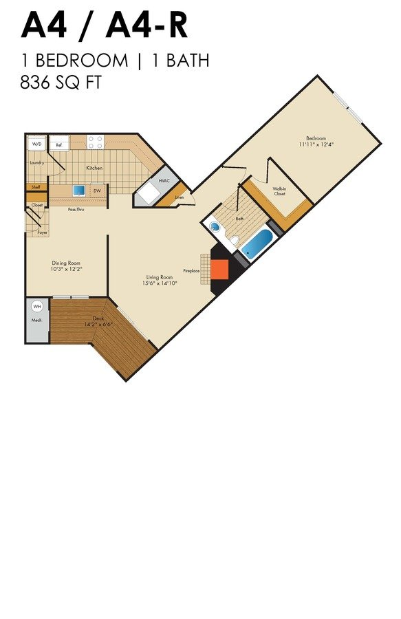 1 Bedroom 1 Bathroom Apartment for rent at Red Run in Owings Mills, MD
