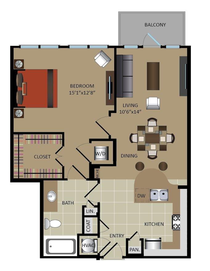 1 Bedroom 1 Bathroom Apartment for rent at Gables Midtown in Atlanta, GA