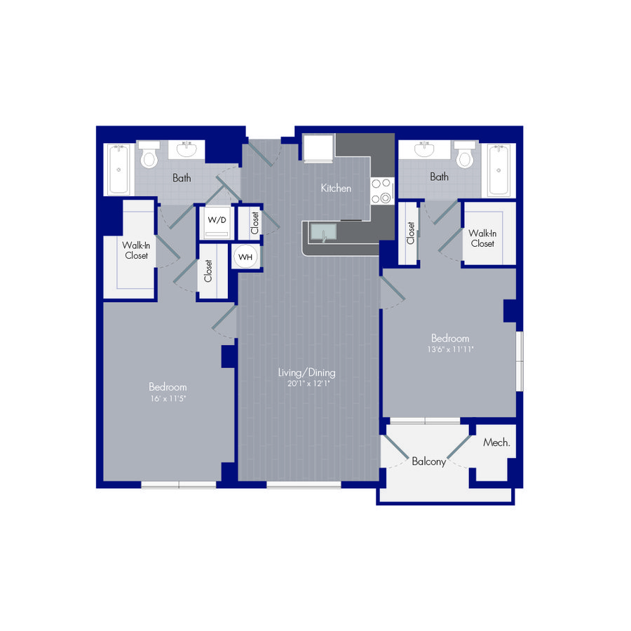 2 Bedrooms 2 Bathrooms Apartment for rent at Curve 6100 in Alexandria, VA