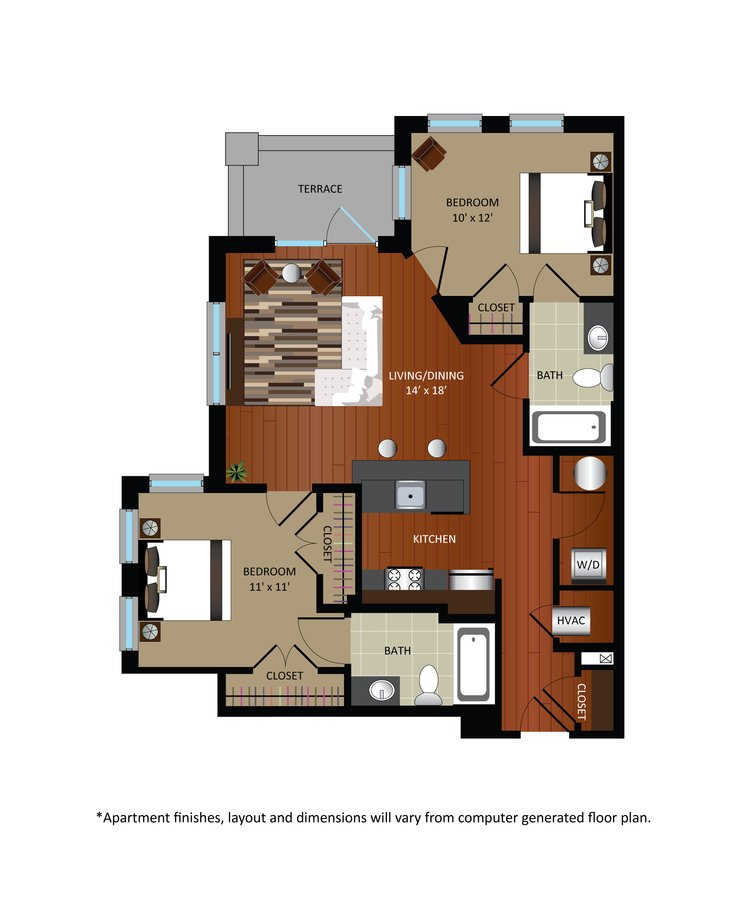 2 Bedrooms 2 Bathrooms Apartment for rent at Gables Takoma Park in Washington, DC
